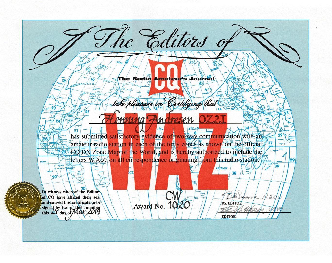 WAZ CW Award #1020